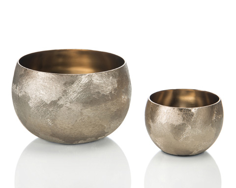 John Richard Collection - Set Of 2 Gold Micro Hammered Bowls - JRA-9941S2