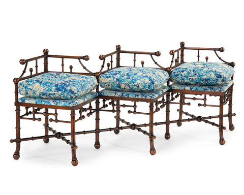 John Richard Collection - Antique Gold Three Seater Bench - AMF-1041-2057-AS