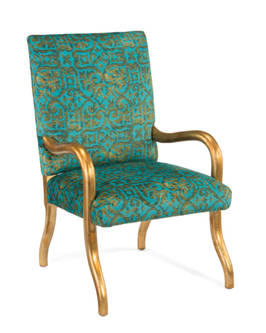 John Richard Collection - Meruer Gold Finish Arm Chair - AMF-1345-1027-AS