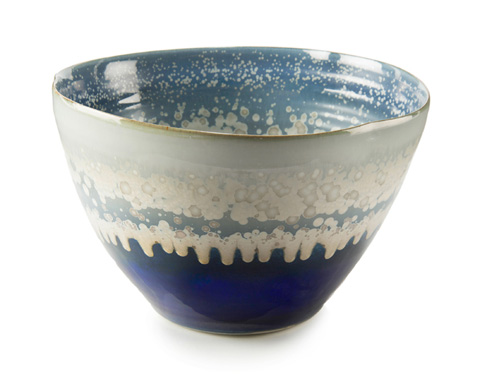 John Richard Collection - Reactive Blue and Cream Bowl - JRA-10178