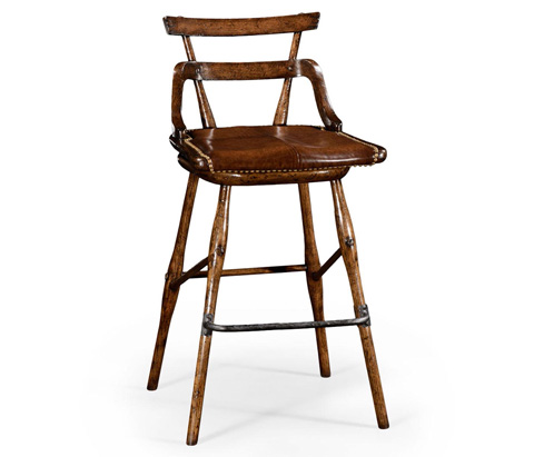 Jonathan Charles - Leather Seat Side Barstool - 494316
