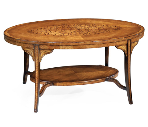 Image of Oval Marquetry Coffee Table