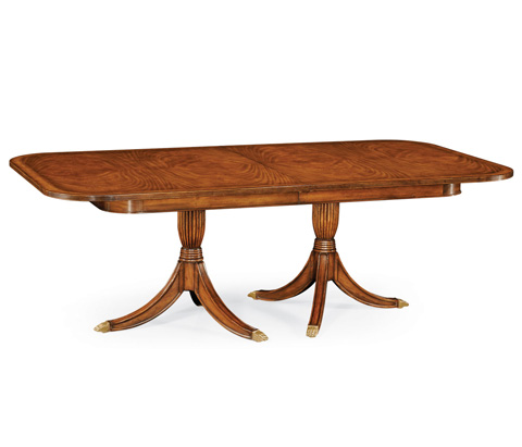 Image of Double Pedestal Walnut Dining Table