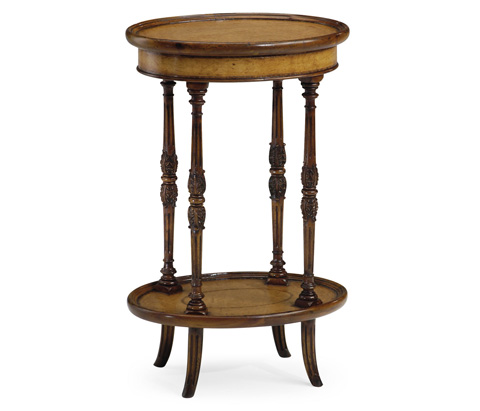Jonathan Charles - Leather Inset Oval Lamp Table - 492011