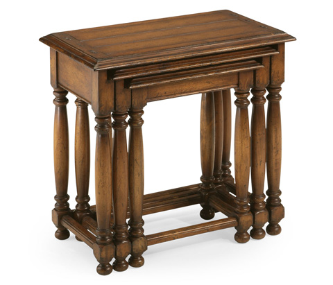 Jonathan Charles - Nest of Three Walnut Tables with Plank Tops - 492026