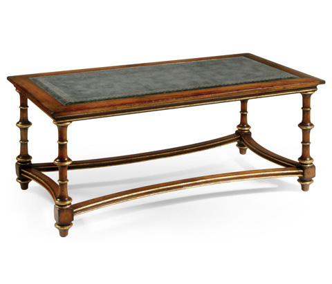 Jonathan Charles - Eglomise and Walnut Rectangular Coffee Table - 492073