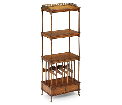 Image of Walnut Three-Tier Etagere with Single Canterbury