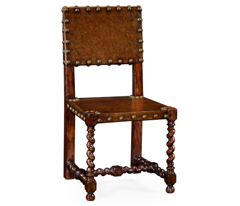 Image of Tudor Style Leather Side Chair