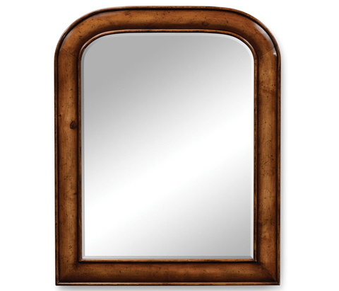 Jonathan Charles - Small Walnut Mirror with Curved Top - 492169