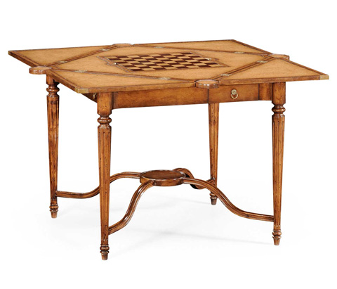 Jonathan Charles - Walnut Leather Games Table with Geometric Inlays - 492264