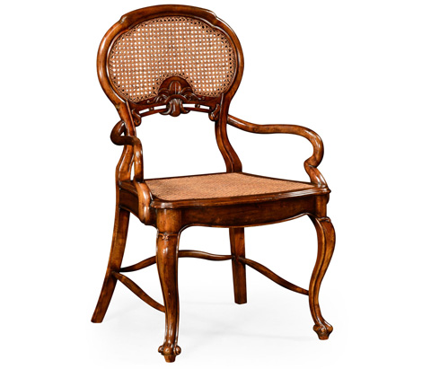 Jonathan Charles - French Style Salon Arm Chair with Caned Back - 492274