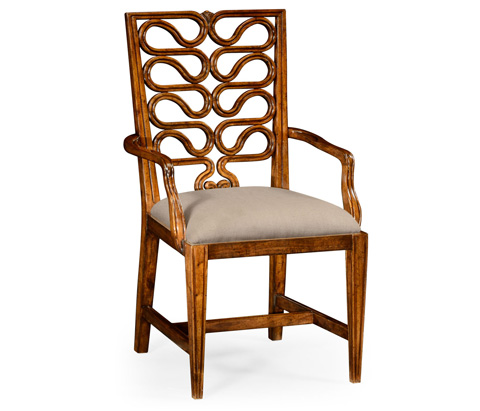 Jonathan Charles - Serpentine Open Back Dining Arm Chair - 492286