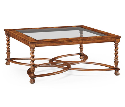 Jonathan Charles - Square Oyster Coffee Table with Glass Top - 492392