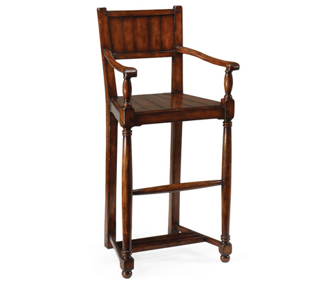 Jonathan Charles - Planked Walnut Barstool with Baluster Legs - 492433