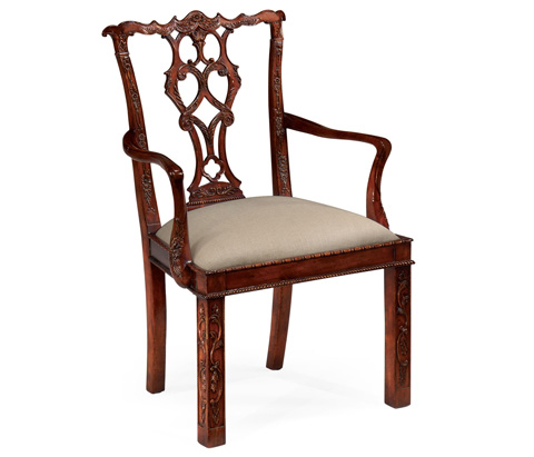 Jonathan Charles - Chippendale Style Rococo Quatrefoil Arm Chair - 492470