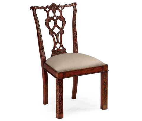 Jonathan Charles - Chippendale Style Rococo Quatrefoil Side Chair - 492472