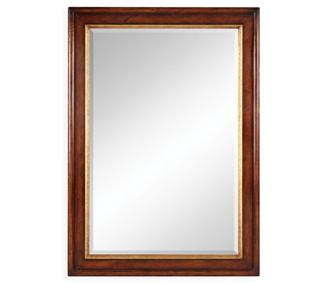 Jonathan Charles - Plain Walnut Rectangular Mirror with Gilt Inset - 492527