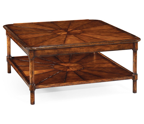 Jonathan Charles - Square Rustic Walnut Coffee Table - 492599