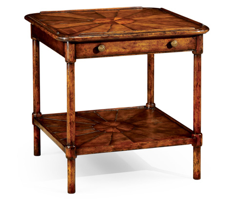 Jonathan Charles - Rustic Walnut Two-Tier Table - 492616
