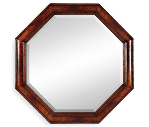 Jonathan Charles - Large Octagonal Crotch Mahogany Mirror - 492622