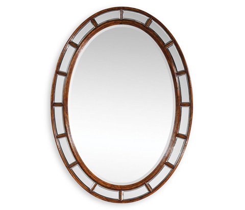 Jonathan Charles - Walnut Framed Oval Panelled Mirror - 492635