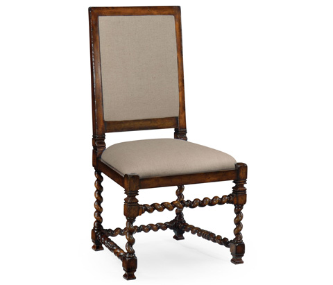 Jonathan Charles - Carolean Style Chair with Upholstered Back - 492741