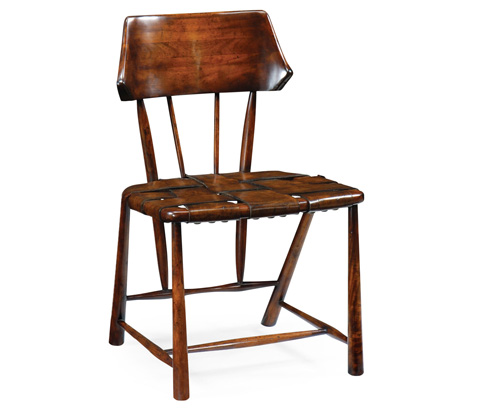 Jonathan Charles - Walnut Smokers Chair with Webbed Leather Seat - 492958