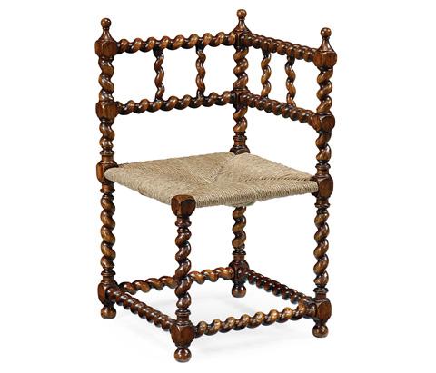 Jonathan Charles - Barley Twist Walnut Corner Chair - 492983