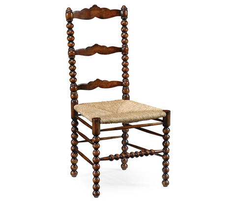 Jonathan Charles - Bobbin Turned Walnut Ladder Back Side Chair - 492990