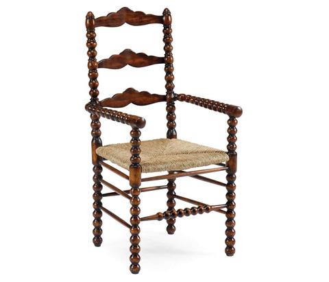 Jonathan Charles - Bobbin Turned Walnut Ladder Back Arm Chair - 492991