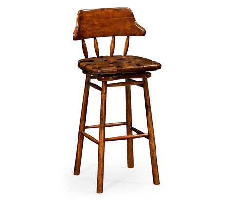 Jonathan Charles - Country Style Walnut Leather Barstool - 493010