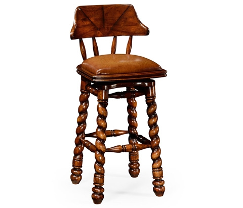 Jonathan Charles - Country Style Walnut Leather Barstool - 493025