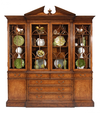 Jonathan Charles - Walnut Glazed Triple Display Cabinet - 493065