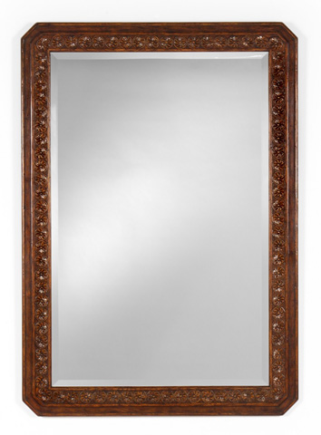 Jonathan Charles - Dark Oak Rectangular Mirror with Carved Rosettes - 493116