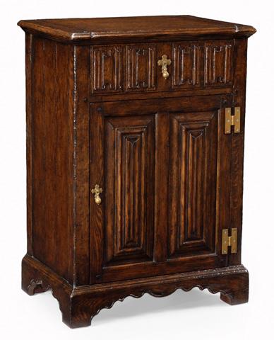 Jonathan Charles - Linenfold Dark Oak Beside Cabinet - 493207