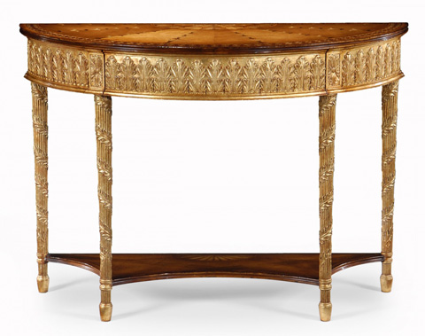 Jonathan Charles - Gilded Console with Shelf - 493208