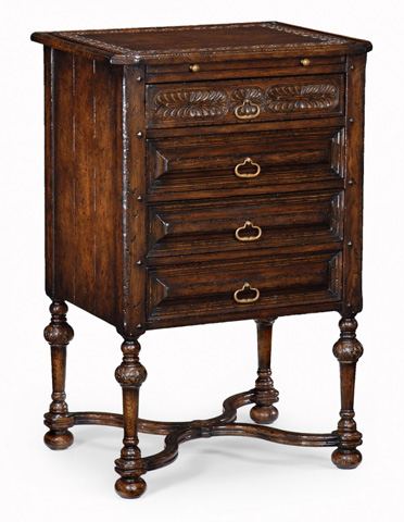 Jonathan Charles - Tudorbethan Dark Oak Bedside Cabinet - 493220