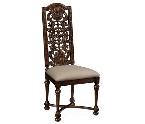Jonathan Charles - Jacobean Style Dark Oak Chair Pierced Back - 493245