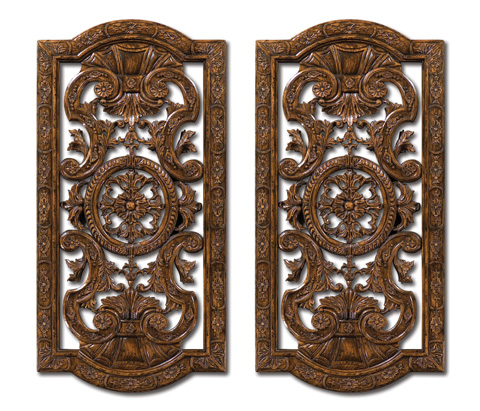 Jonathan Charles - Pair of Dark Oak Renaissance Style Panels - 493363