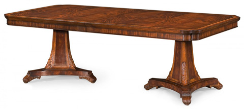 Jonathan Charles - Curved Pedestal Extending Dining Table - 493380