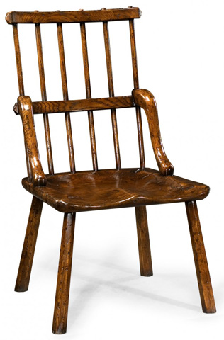 Jonathan Charles - Rustic Dark Oak Country Chair Plank Seat - 493402