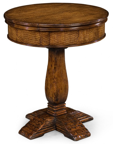Jonathan Charles - Walnut Round Side Table with Drawer - 493423