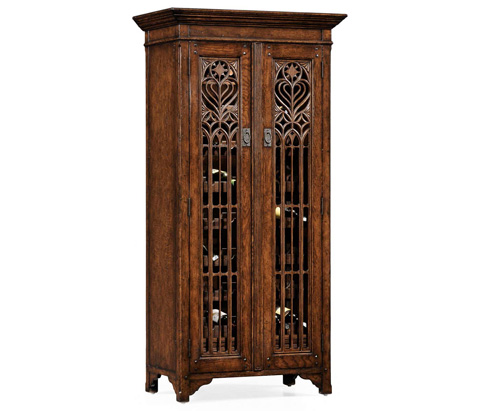 Jonathan Charles - Dark Oak Gothic Wine Cabinet Tall - 493524