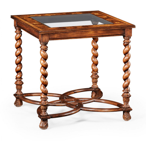 Jonathan Charles - Oyster and Plain Glass Side Table - 493528