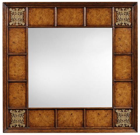 Jonathan Charles - Square Walnut and Burl Oak Mirror - 493570