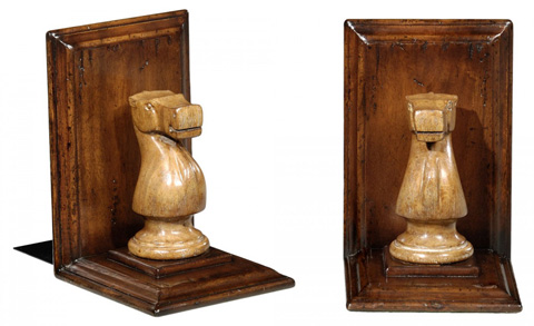 Jonathan Charles - Walnut Chess Piece Bookends - 493713