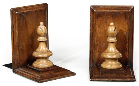 Jonathan Charles - Walnut Chess Piece Bookends - 493714