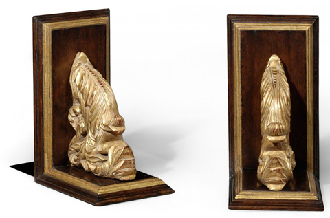 Jonathan Charles - Pair of Walnut Bookends with Gilded Leaf Design - 493747
