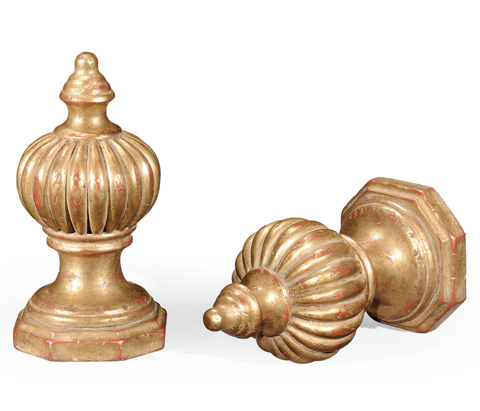 Jonathan Charles - Pair of Gilded Rub-Through Finial Ornaments - 493963