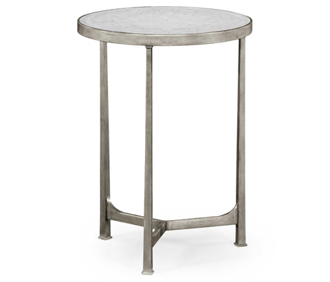 Jonathan Charles - Eglomise and Silver Iron Lamp Round Table - 494042-S